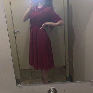 ASOS raspberry colored embellished dress